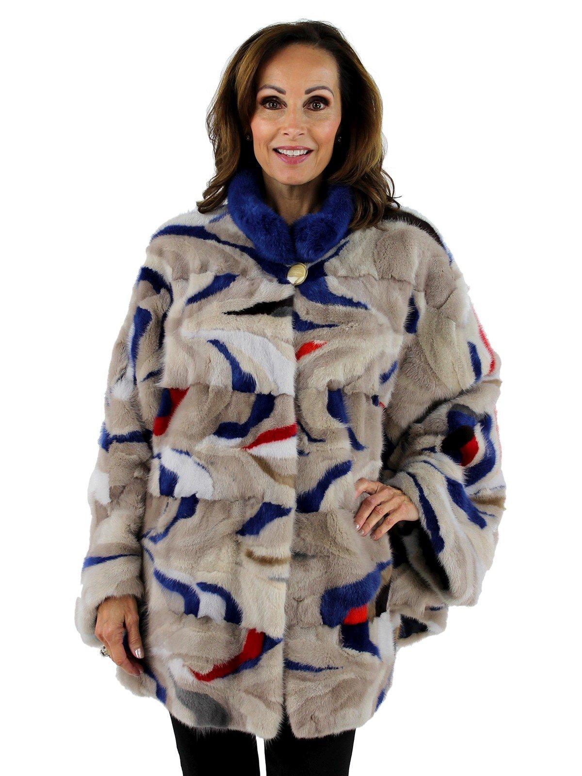 Woman's Multi Color Mink Fur Cape