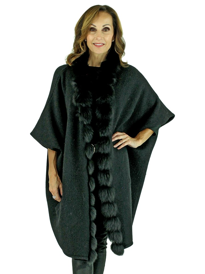 Woman's Black Knit Wool Cape with Fox Trim