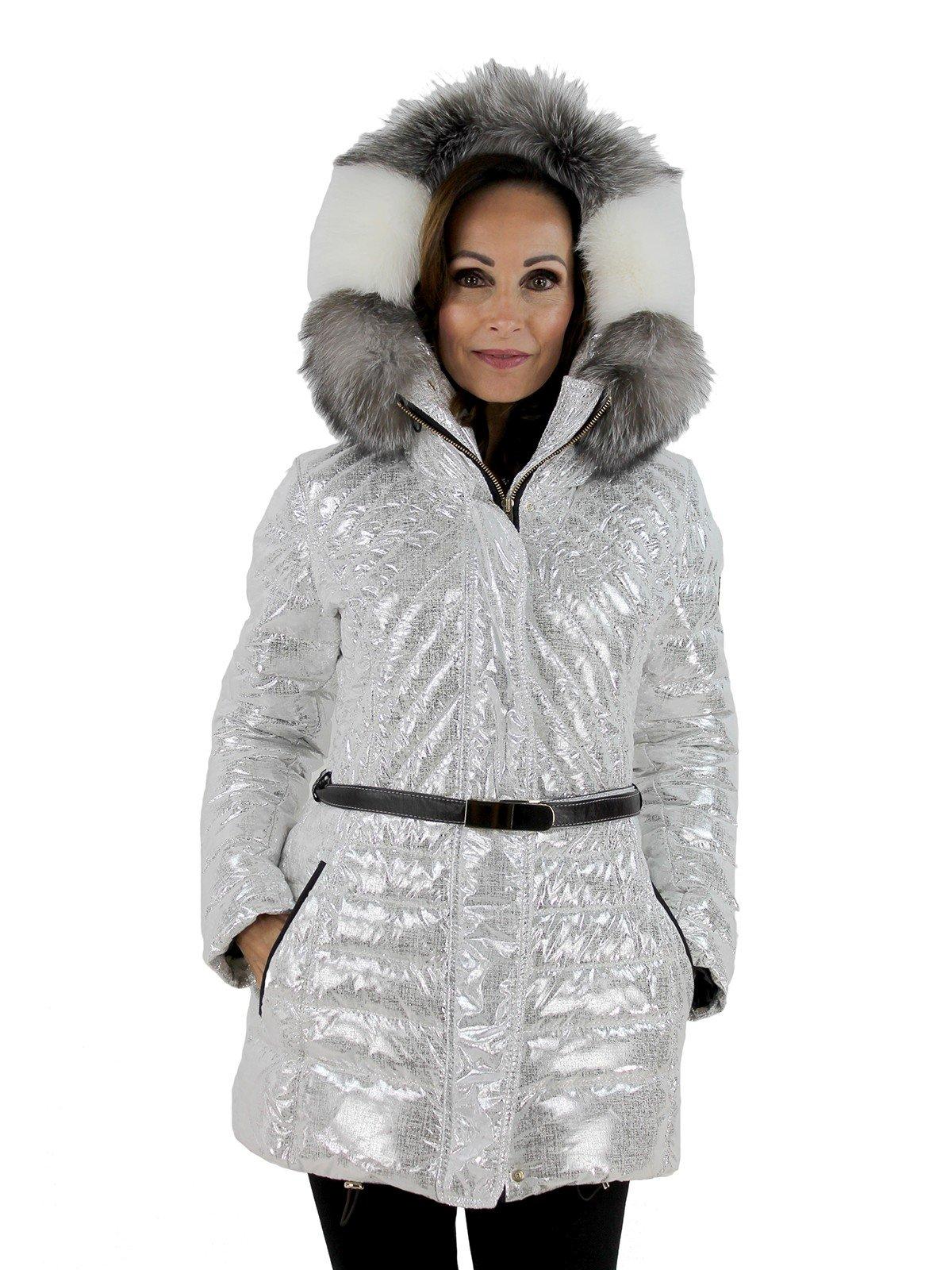 Gorski Woman's  Platinum Apres Ski Parka with Detachable Fox Fur Trim Hood