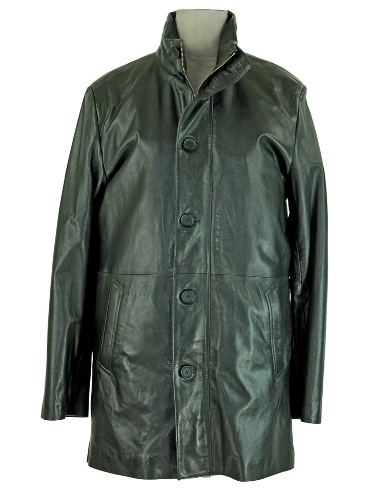 Man's Black Leather Coat