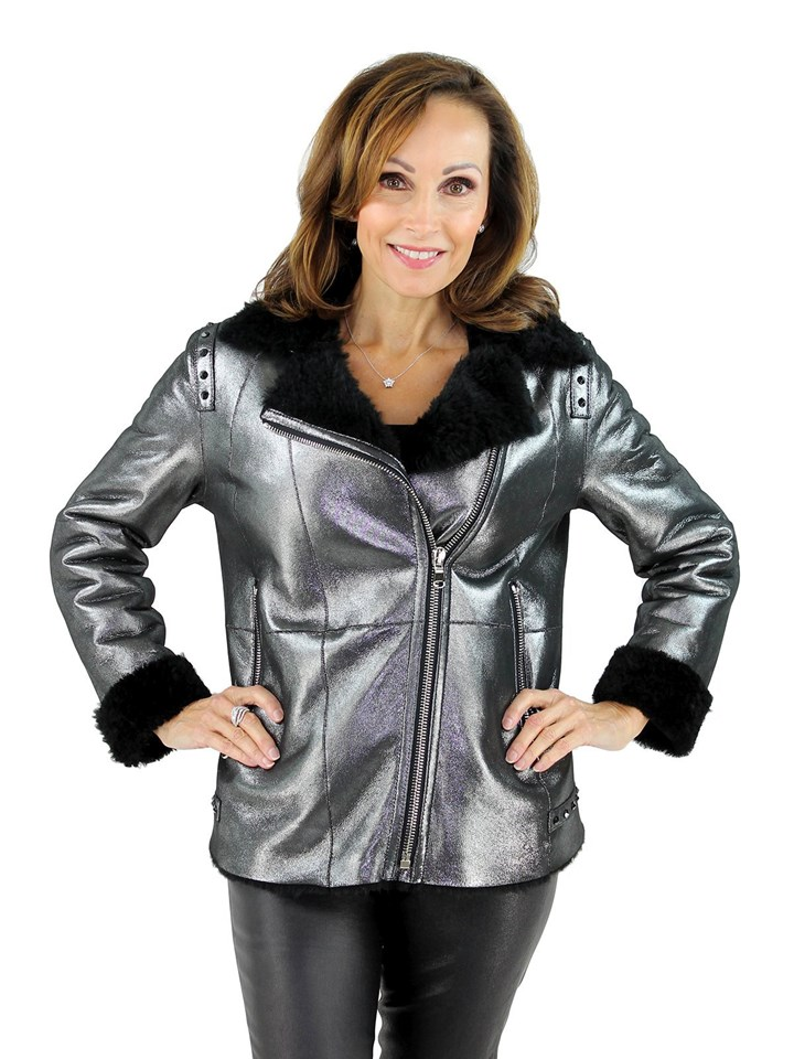 Woman's Metallic and Black Shearling Lamb Jacket