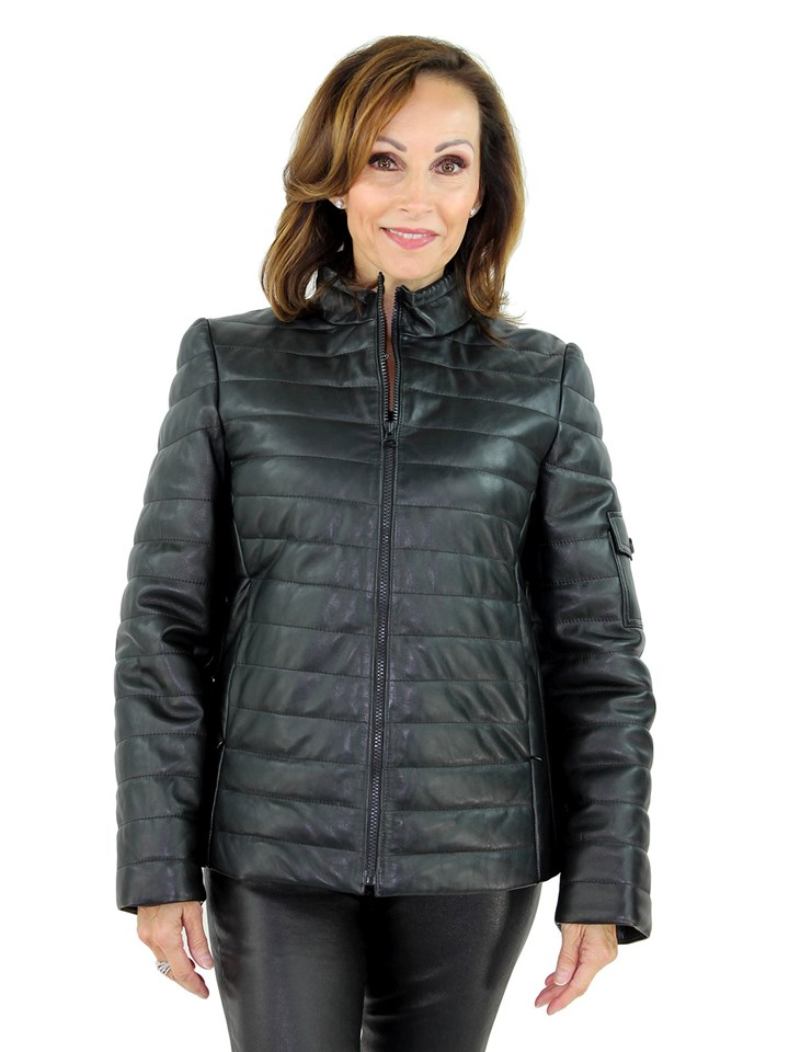 Women's Black Lash Leather Zipper Jacket