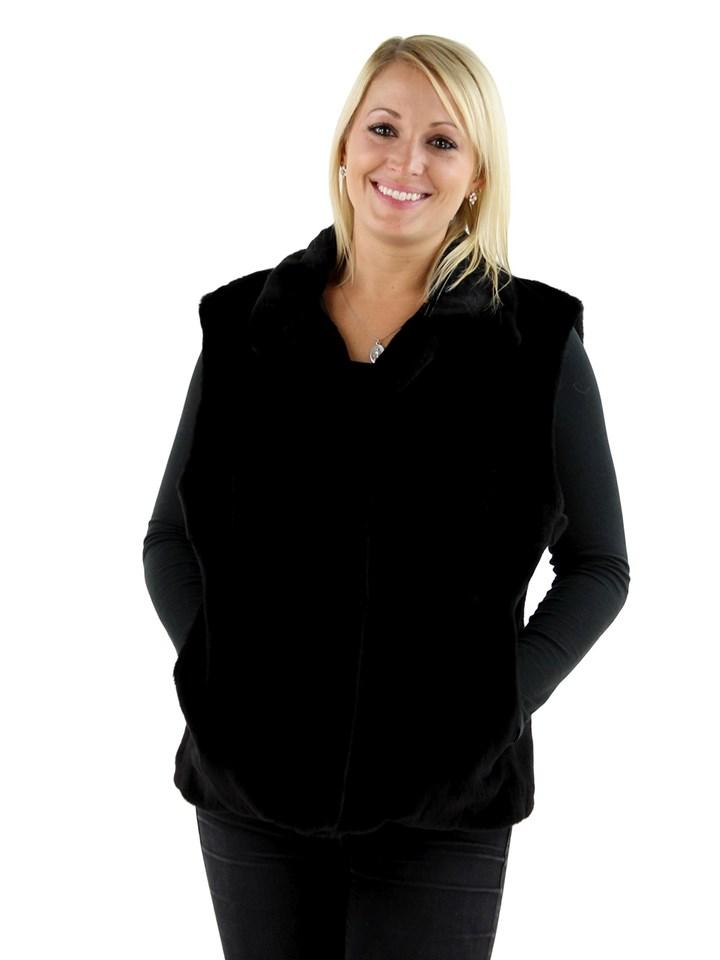 Woman's Black Sheared Mink Fur Vest