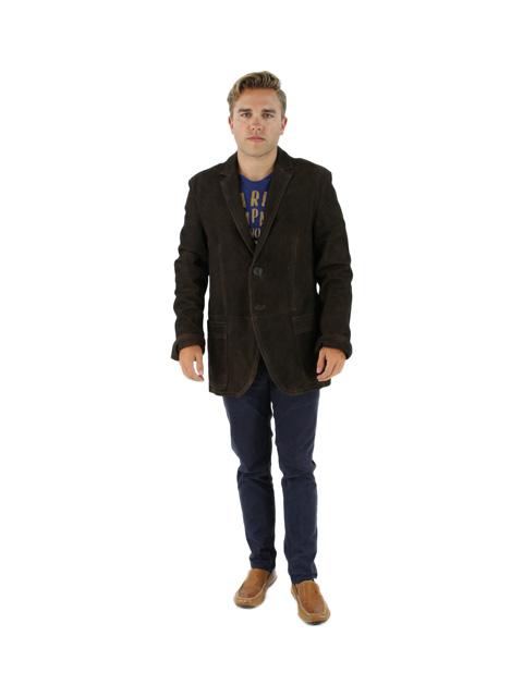 Vintage Brown Suede Leather Blazer