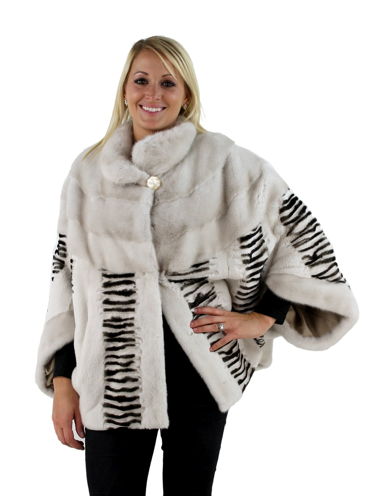 Woman's Pearl and Black Sheared Mink Fur Cape