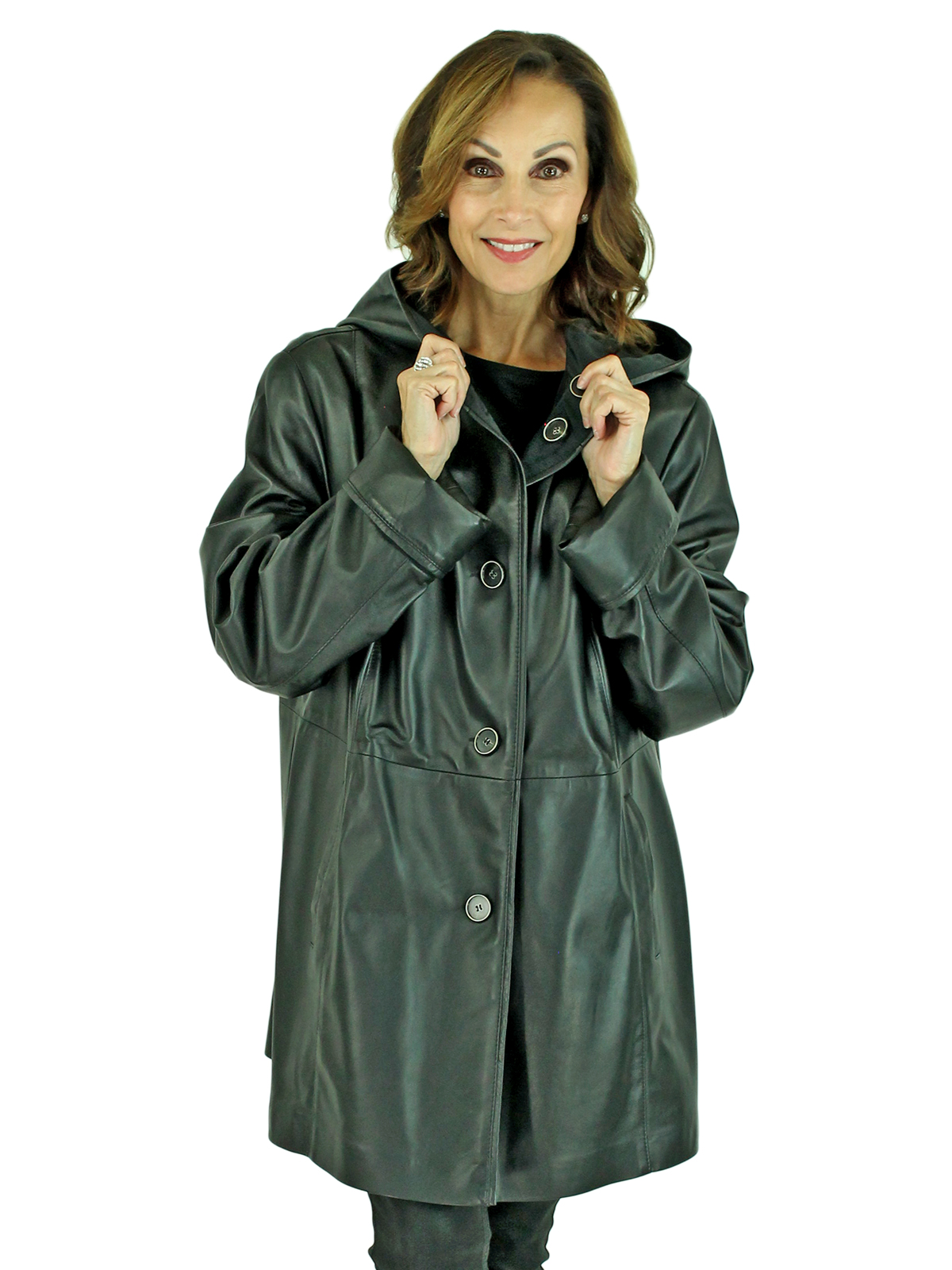 Woman's Black Leather Hooded Stroller Reversible to Black Fabric