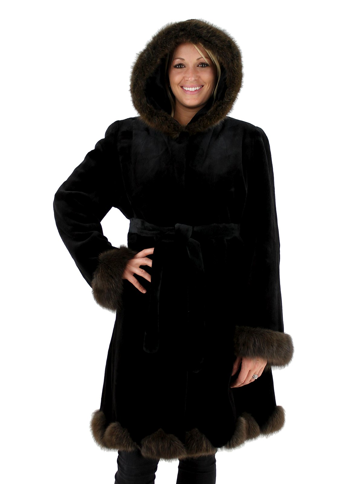 Woman's Black Sheared Mink Fur Hooded Stroller with Sable Trim