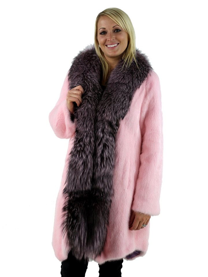 Woman's Pink Mink Fur Stroller with Pink Dyed Silver Fox Trim