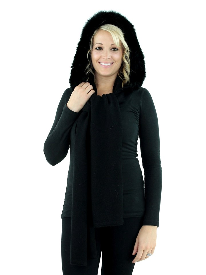 Black Knit Yak Wool Scarf