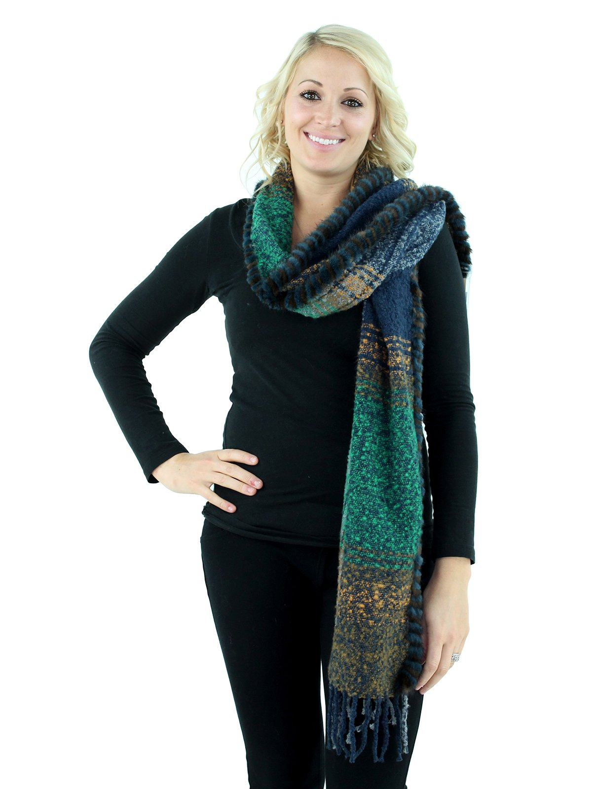 Green, Navy and Salmon Woven Fabric Scarf