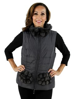 Woman's Grey Fabric and Mink Fur Vest