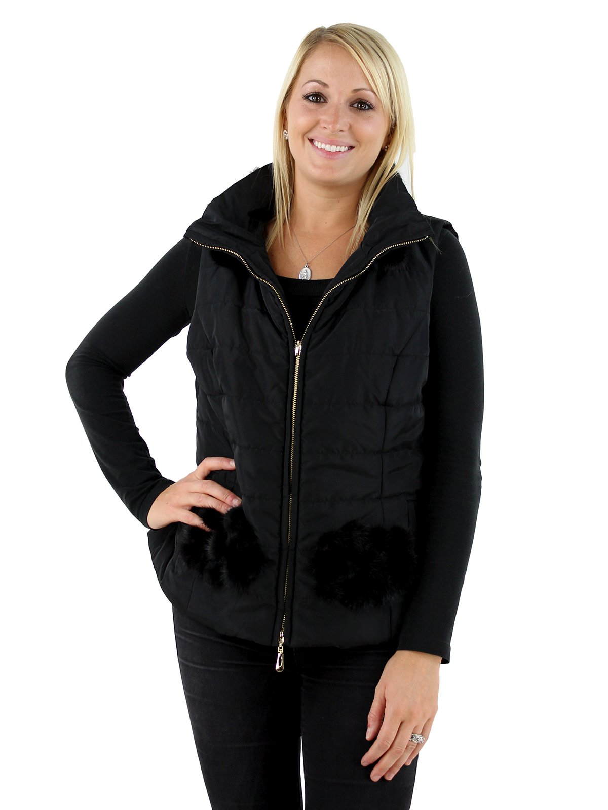 Woman's Black Fabric Vest with Mink Fur Trim