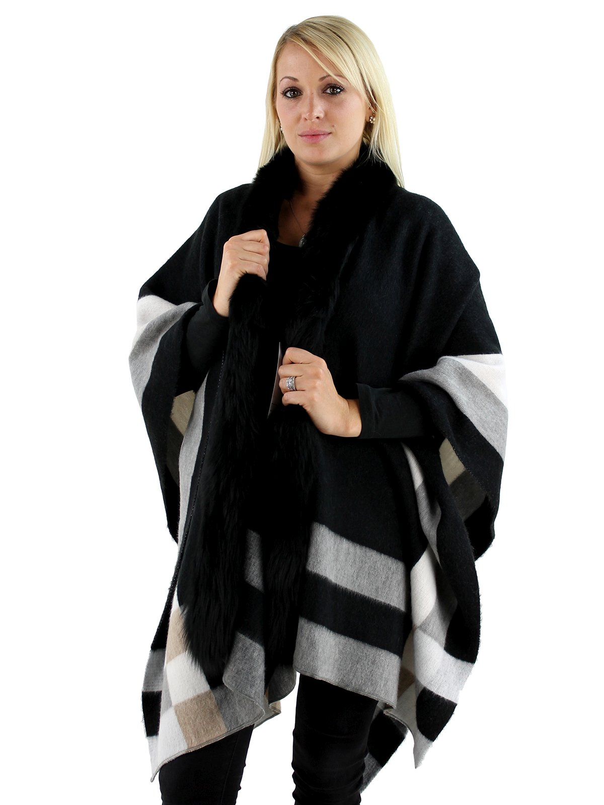 Woman's Black Woven Fabric Cape