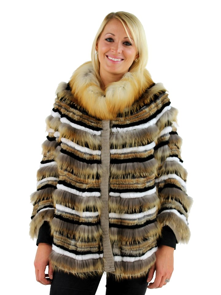 Woman's Gold Tones Fox and Rabbit Fur Cape