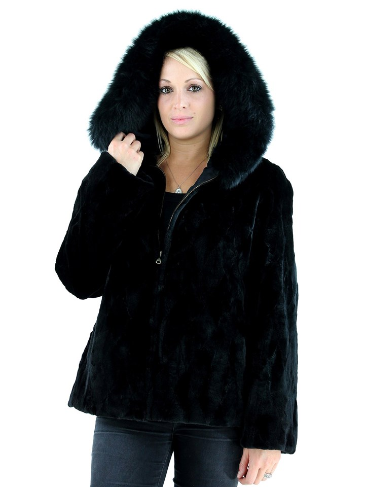 Woman's Black Sheared Mink Fur Parka