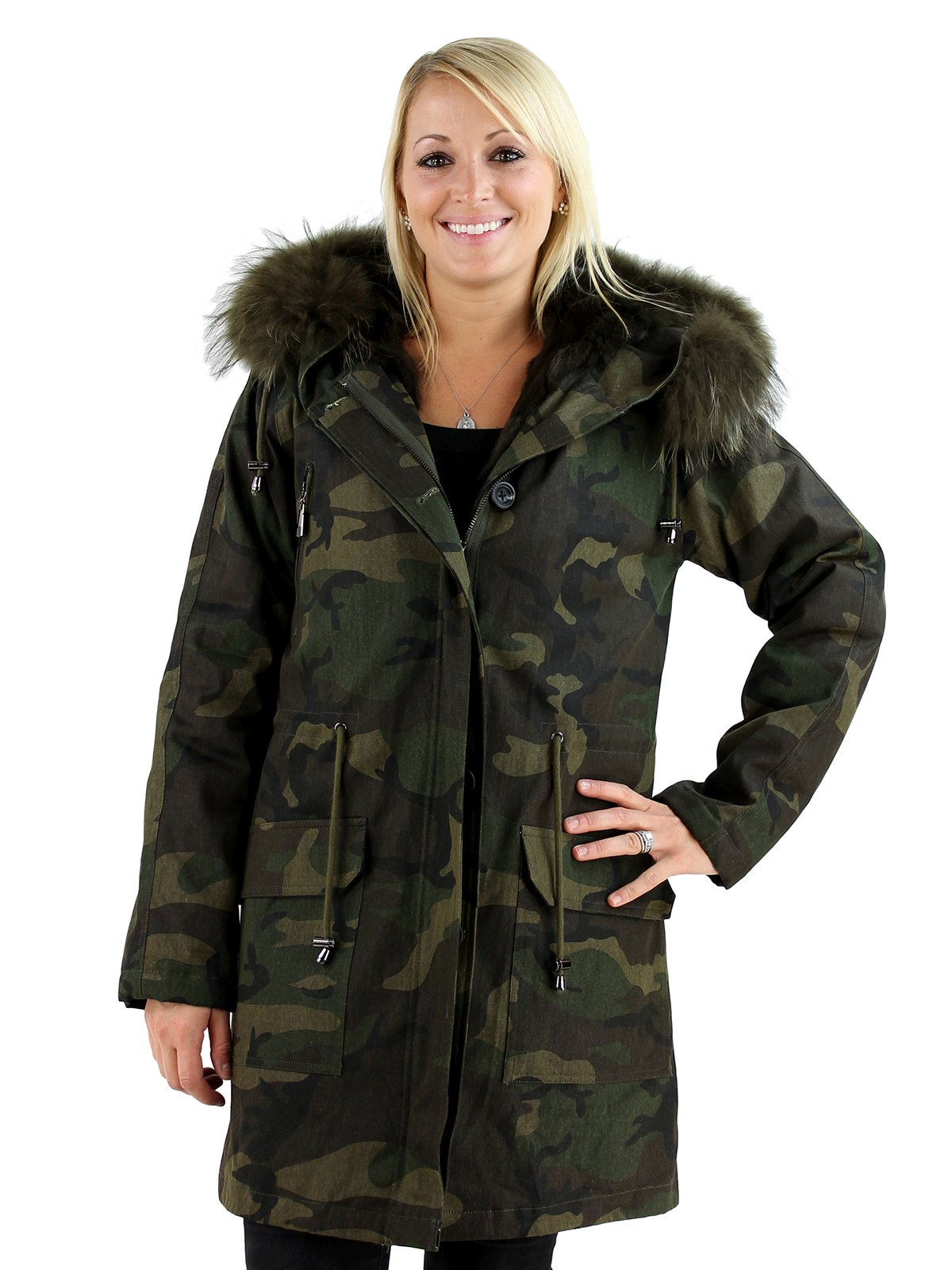 Woman's Green Camo Fabric Parka