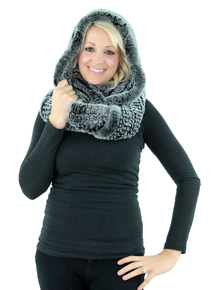 Black and Snowtop Rex Rabbit Fur Infinity Neck Warmer with Hood