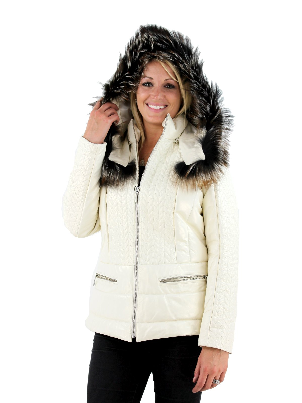 Woman's Ivory Ice Leather Parka