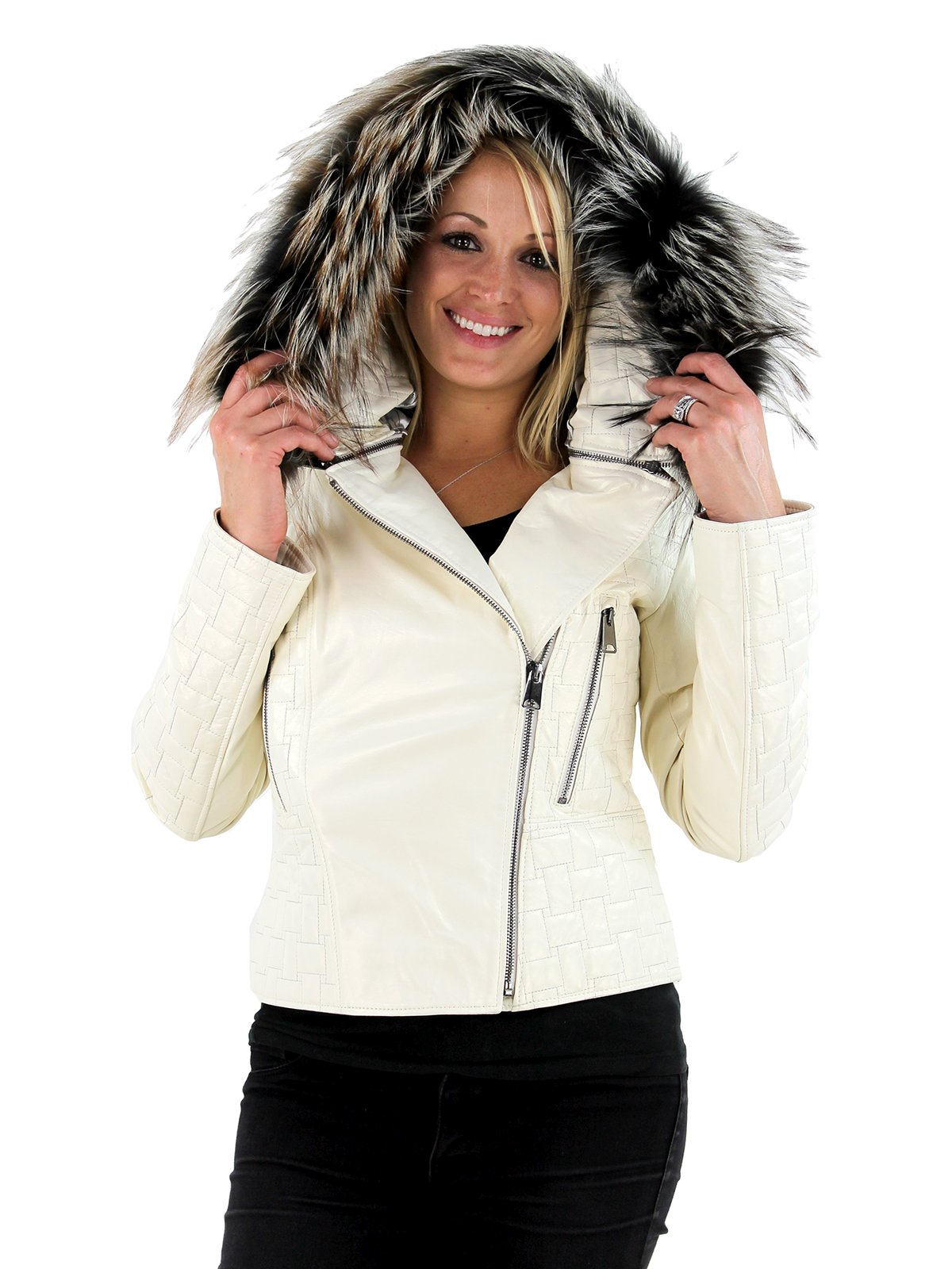 Woman's Ivory Ice Lambskin Jacket