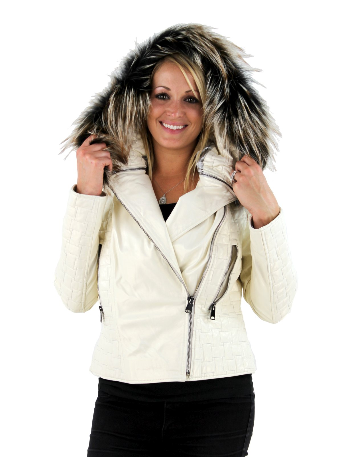 Woman's Ivory Ice Lambskin Jacket