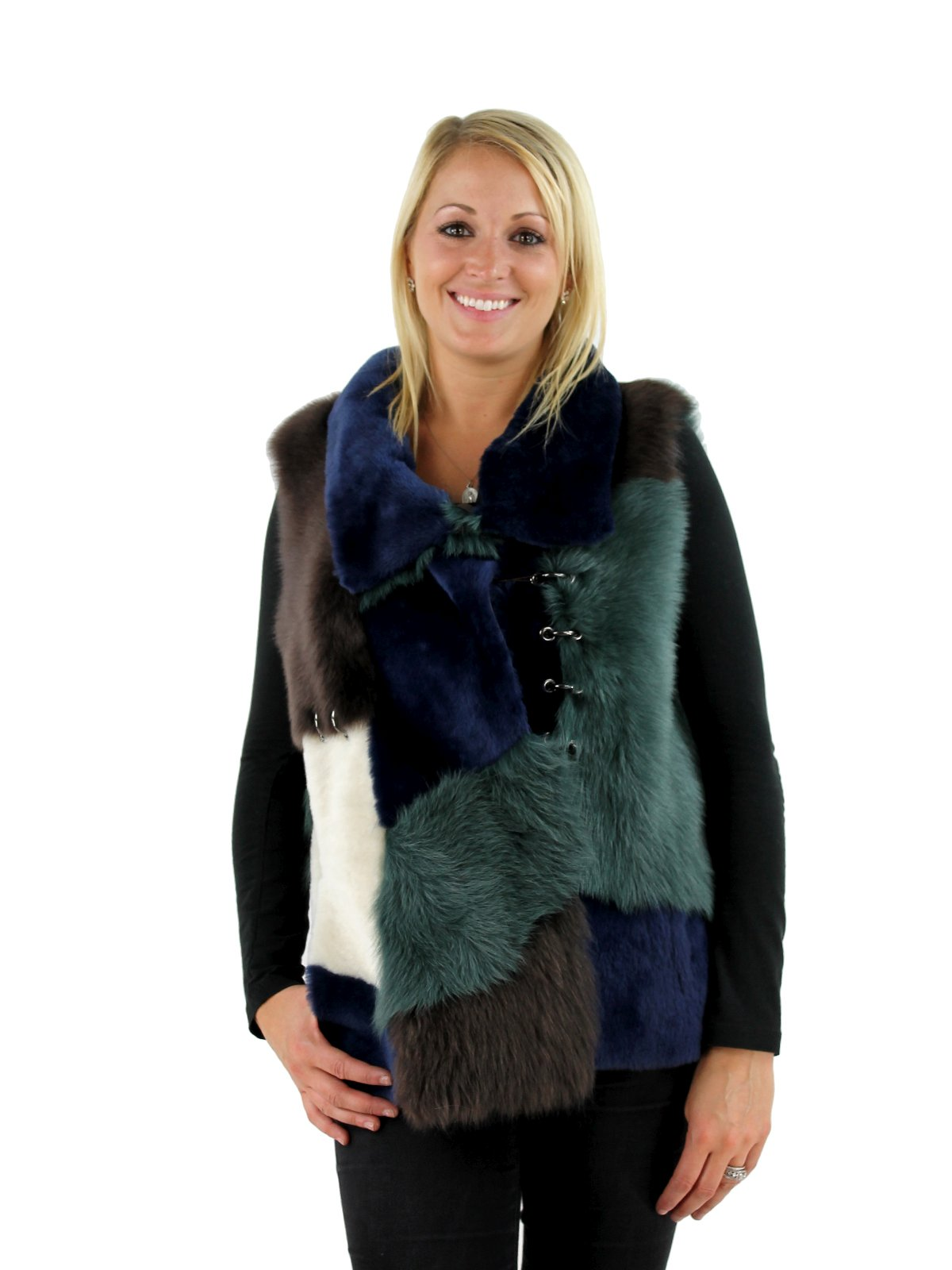 Woman's Multi Color Shearling Lamb Vest