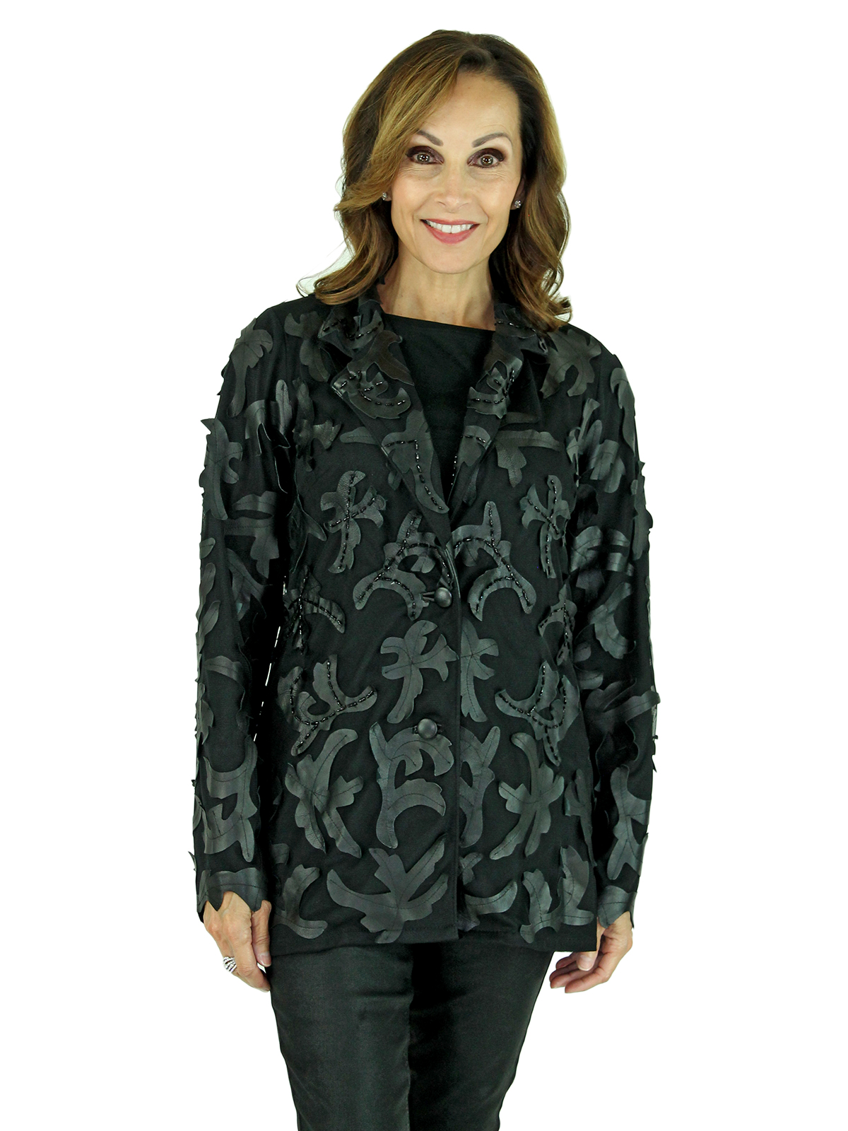 Woman's Black Leather and Black Fabric Fashion Jacket