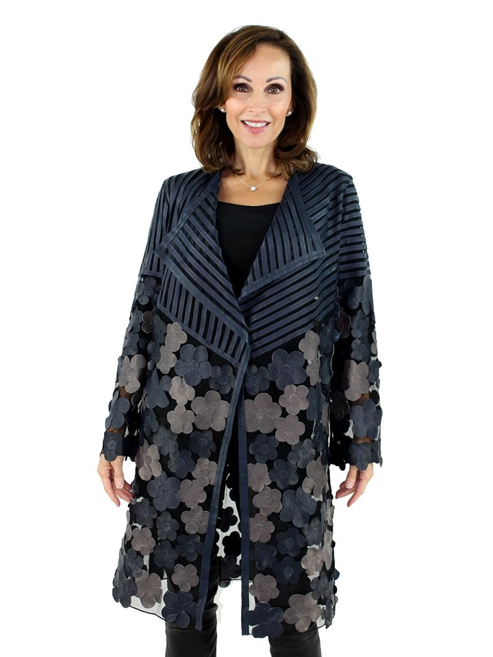 Women's Navy and Taupe Leather and Black Mesh Fabric Jacket