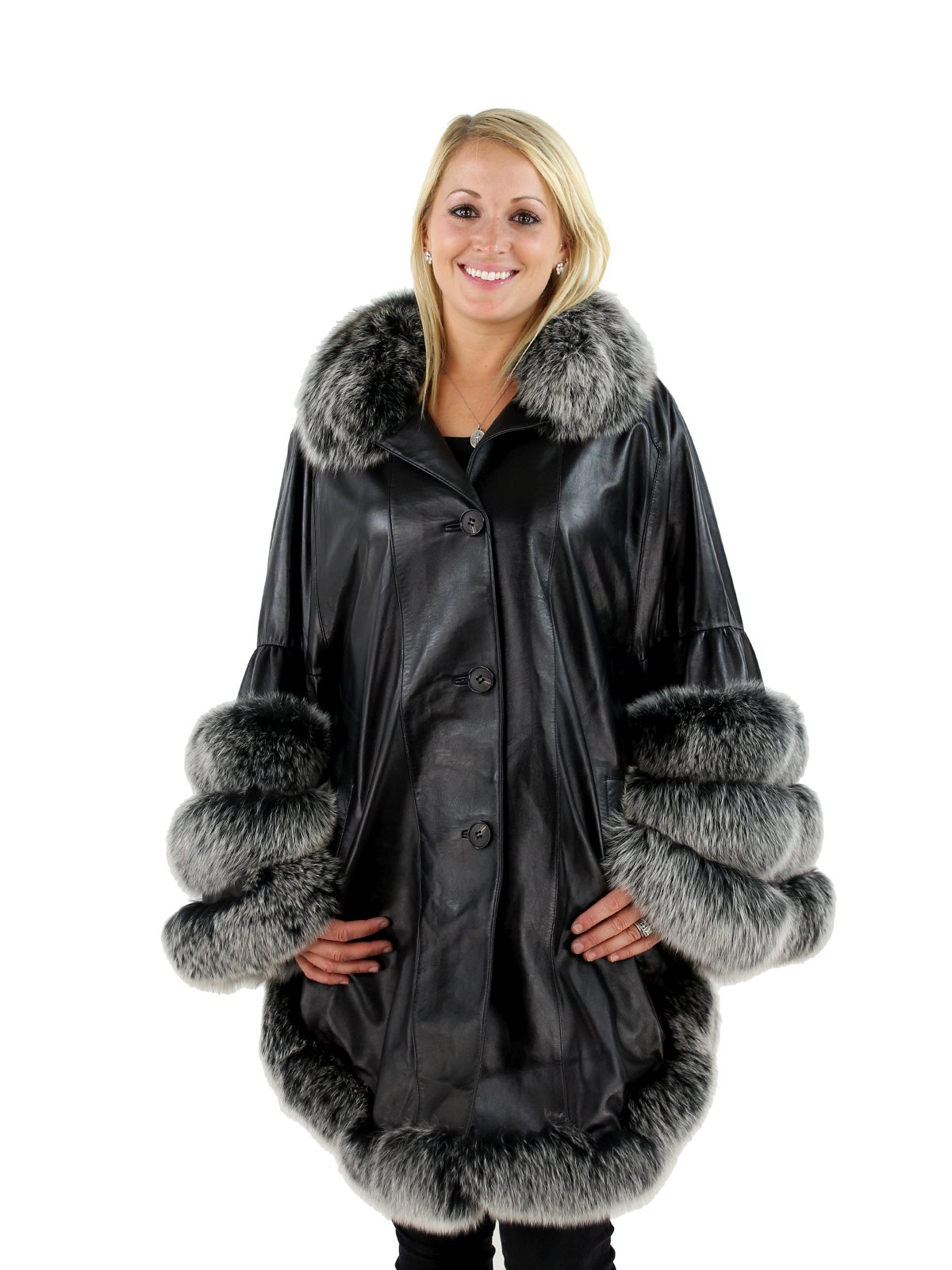 Woman's Black Leather Cape