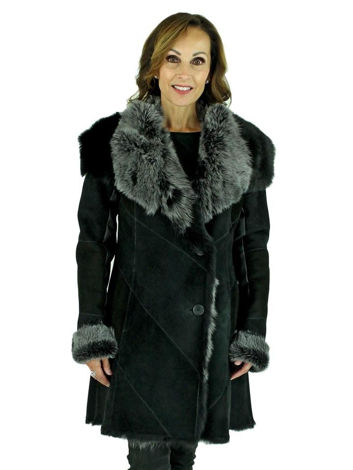Woman's Jet Black Brisa Suede Toscana Shearling Lamb Jacket