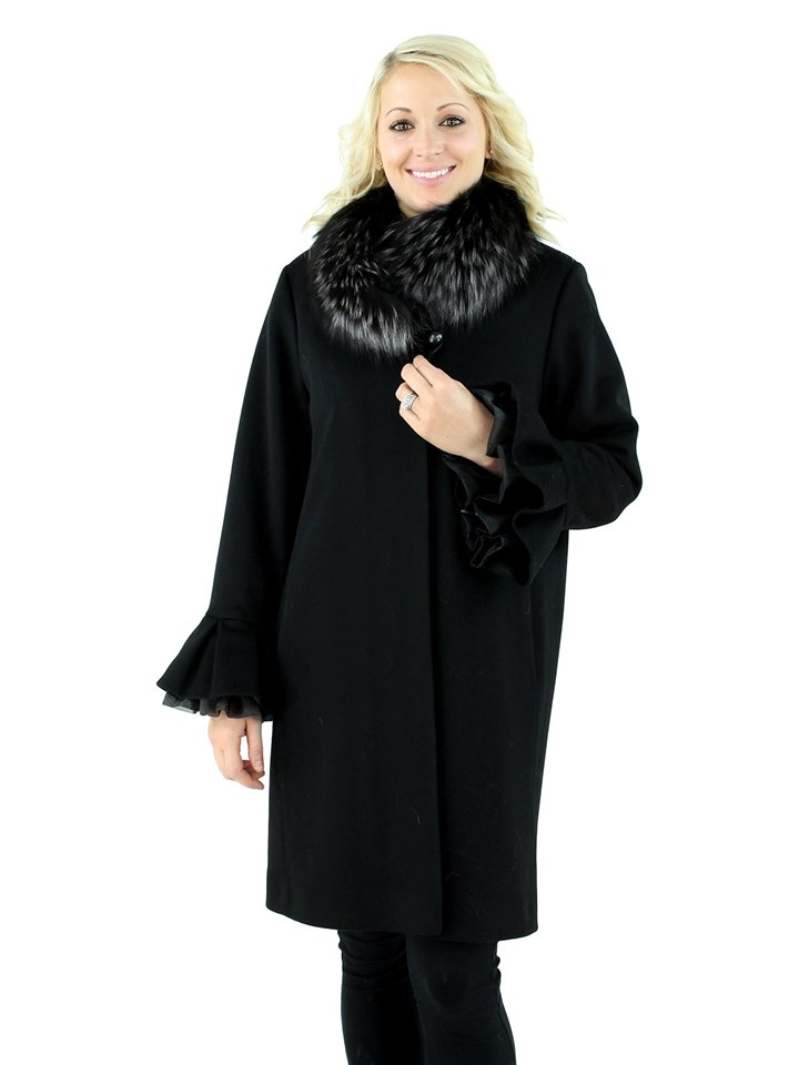 Women's Black Cashmere Wool Stroller with Fox Fur Collar