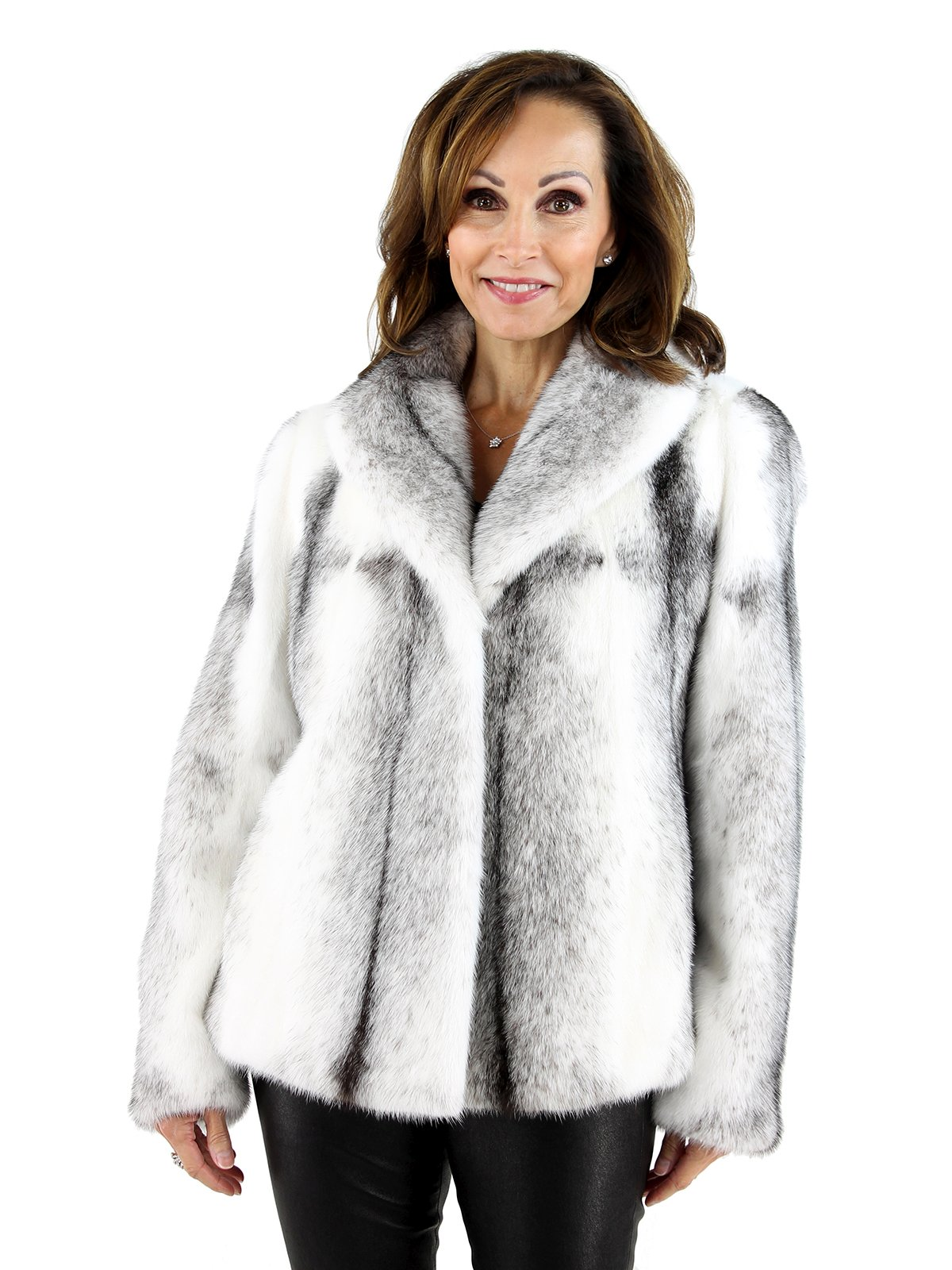 Women's White and Black Cross Mink Fur Jacket
