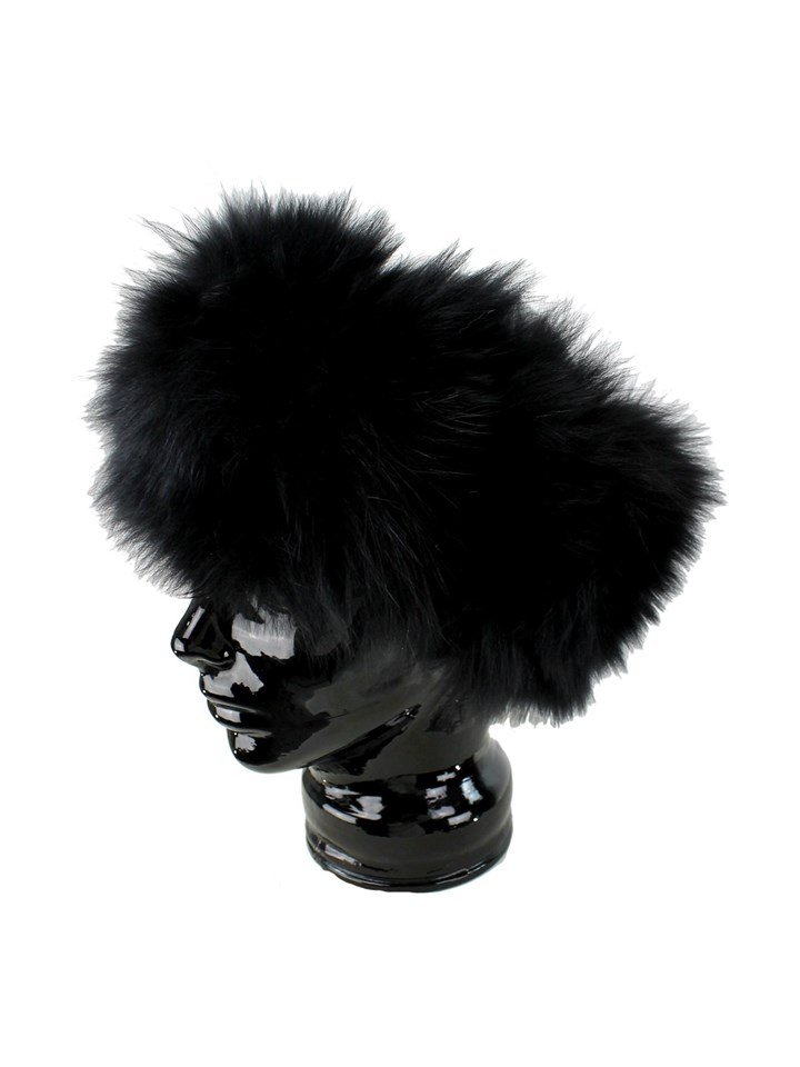 Woman's Black Stretch Knit Fox Fur Headband