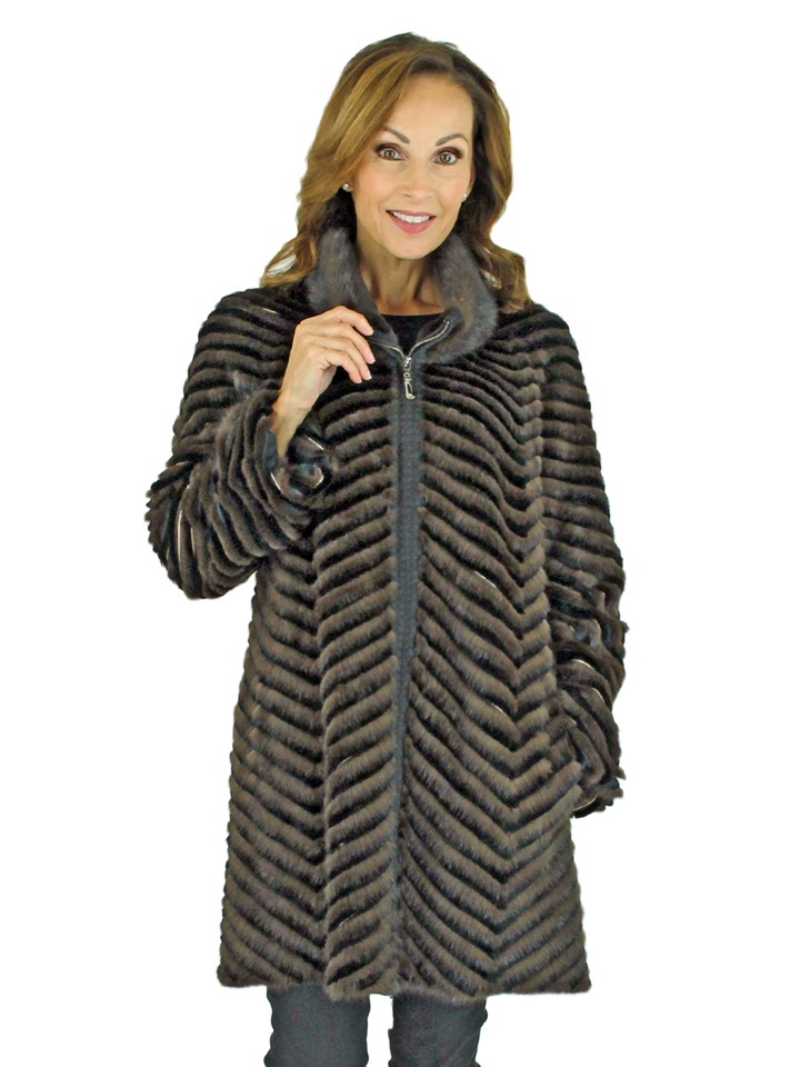Woman's Black and Brown Mink and Rex Rabbit Fur Jacket