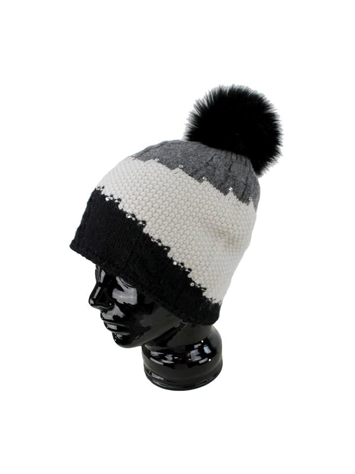 Woman's Black, Grey and Cream Wool Knit Hat with Fox Fur Pom Pom