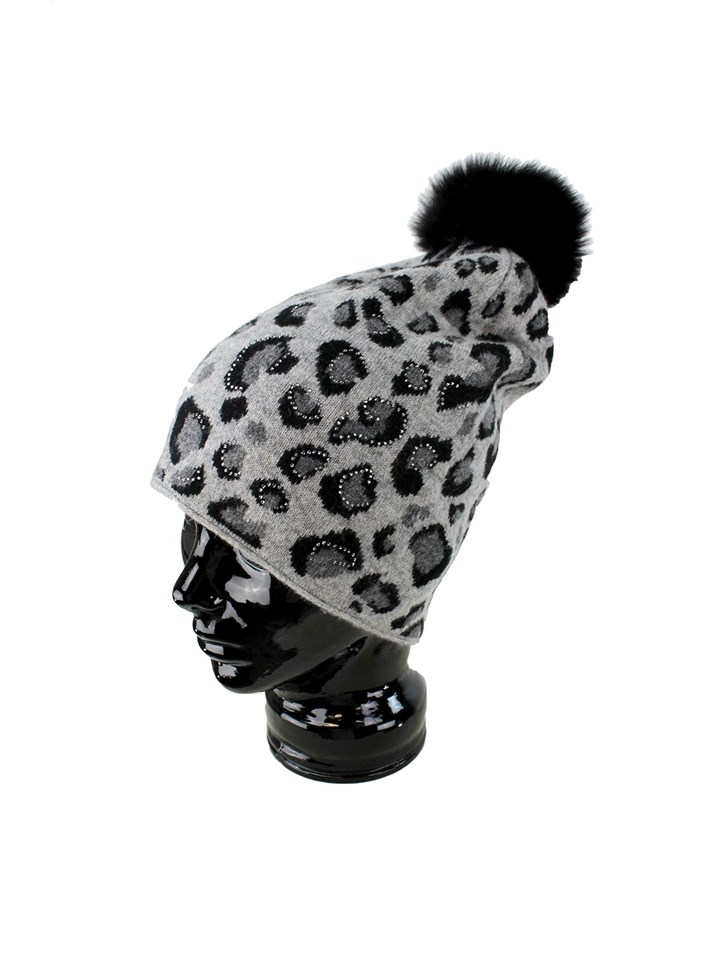 Woman's Black and Grey Animal Print Wool Knit Hat with Fox Fur Pom Pom