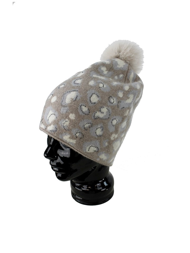 Woman's Beige Animal Print Wool Knit Hat with Fox Fur Pom Pom