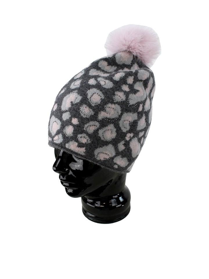 Woman's Grey and Pink Animal Print Wool Knit Hat with Fox Fur Pom Pom