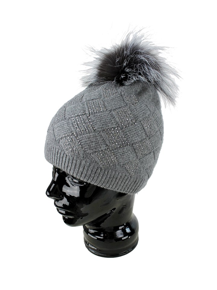 Woman's Grey Knit Hat with Fox Fur Pom Pom