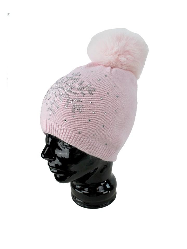 Woman's Pink Knit Hat with Fox Fur Pom Pom