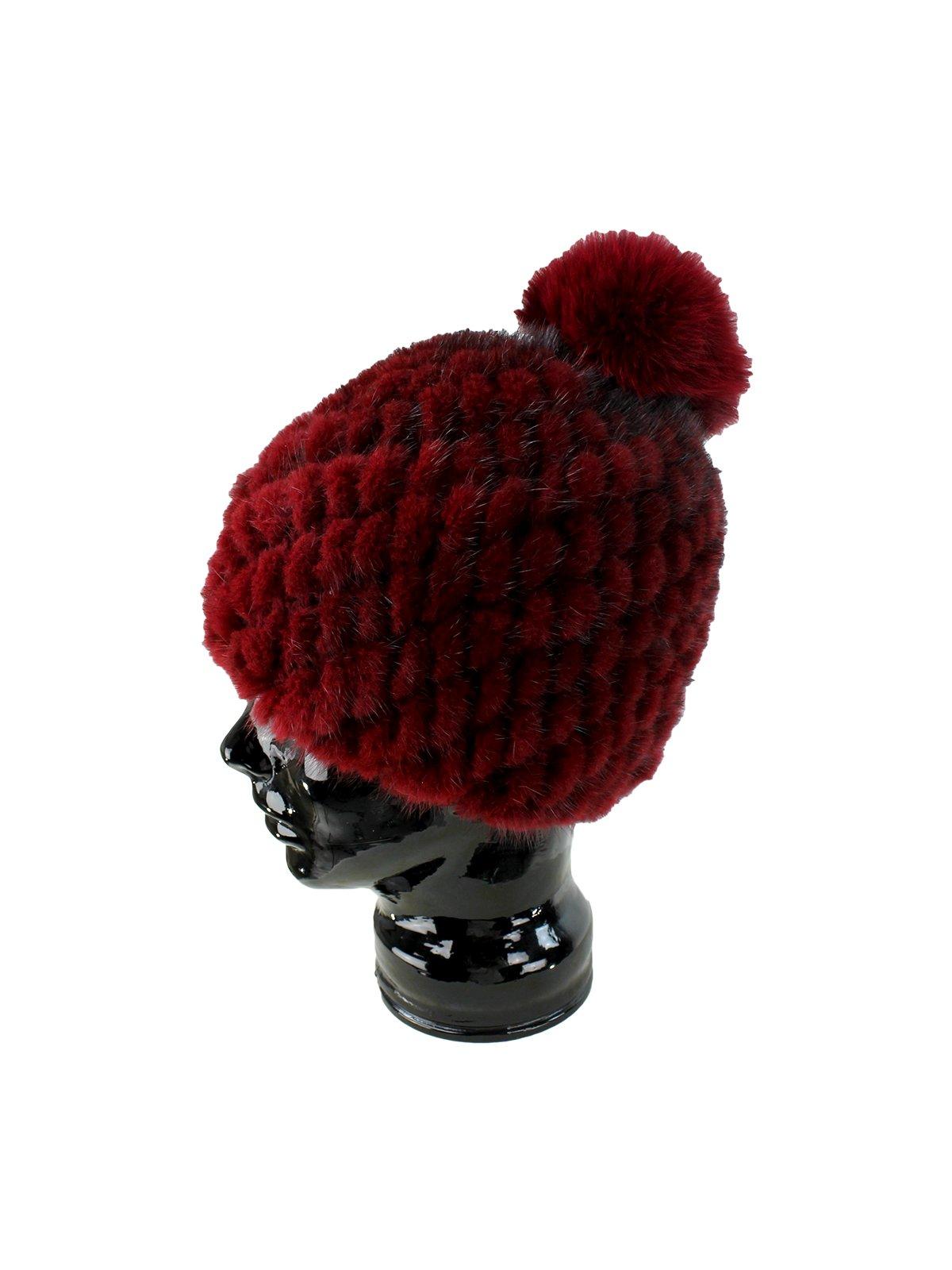 655e1746d1f Burgundy Womens Knit Mink Fur Hat with Fox Fur Pom Pom