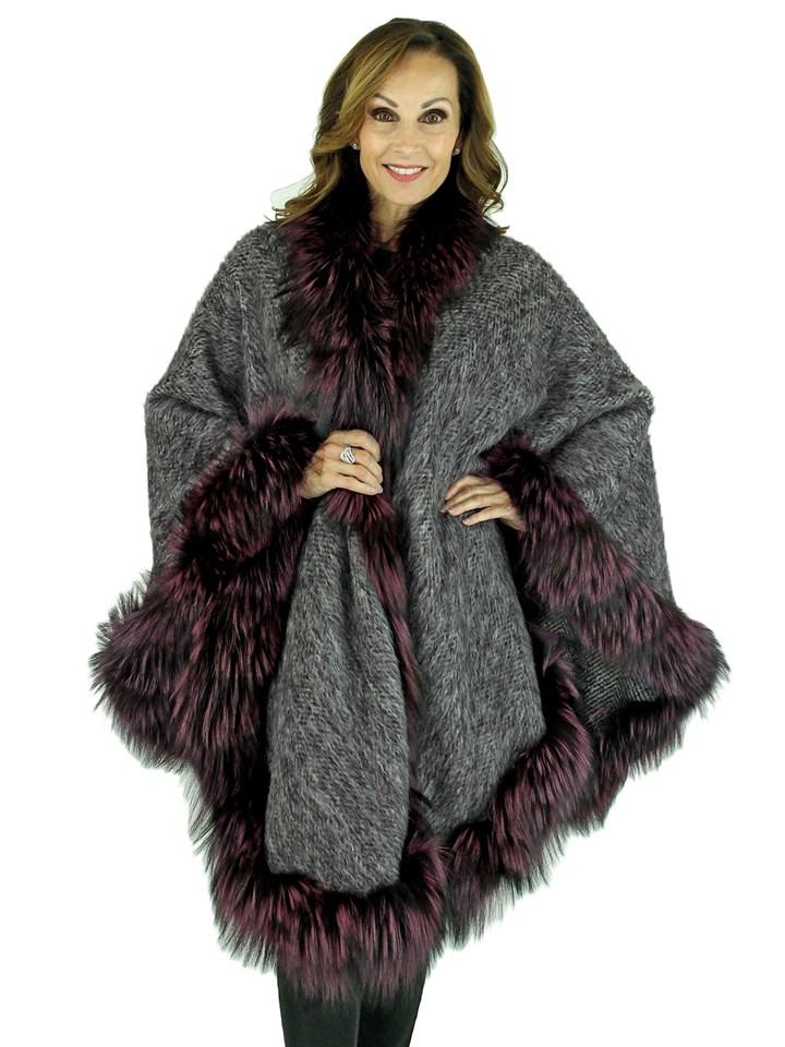 Woman's Grey Alpaca Wool Cape with Purple Dyed Fox Trim