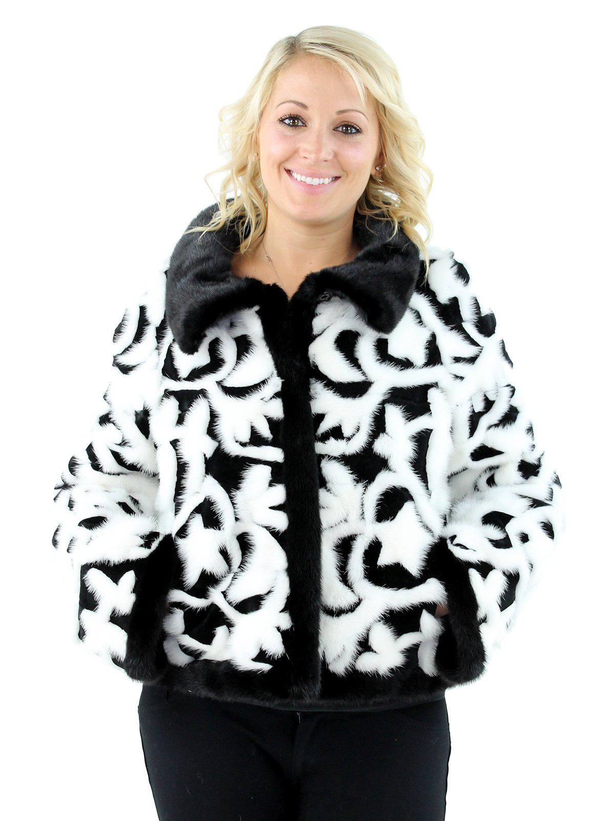 Gorski Woman's Black Sheared Rex Rabbit Fur Jacket