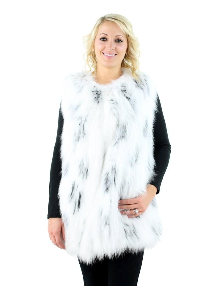 Gorski Woman's White Knit Fox Fur Vest