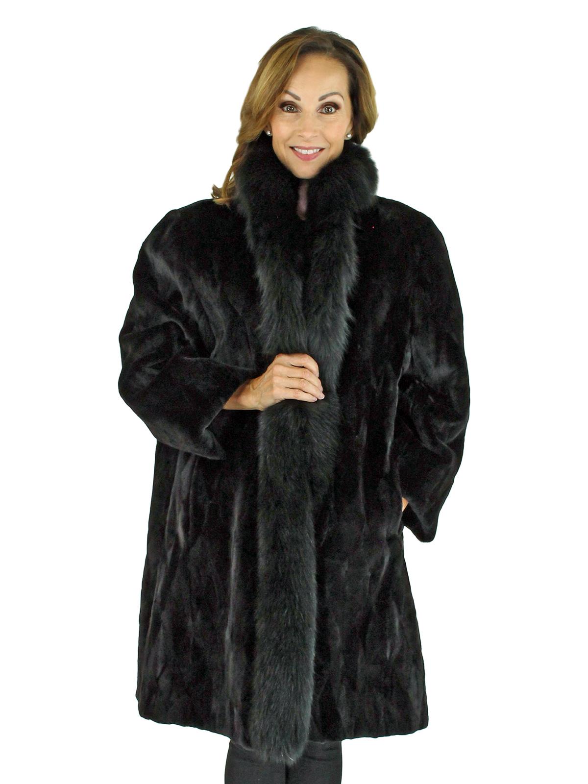 Woman's Black Section Sheared Mink Fur Stroller with Fox Trim Reversible to Black Taffeta