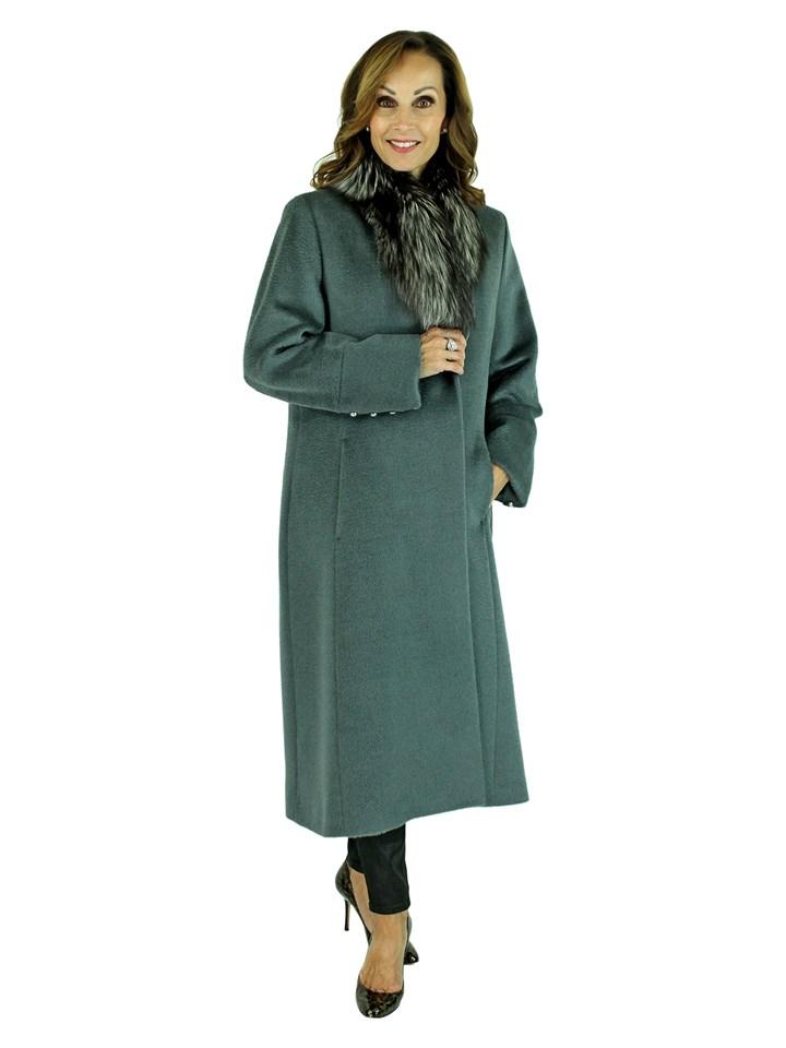 Woman's Grey Alpaca Wool Coat with Silver Fox Collar
