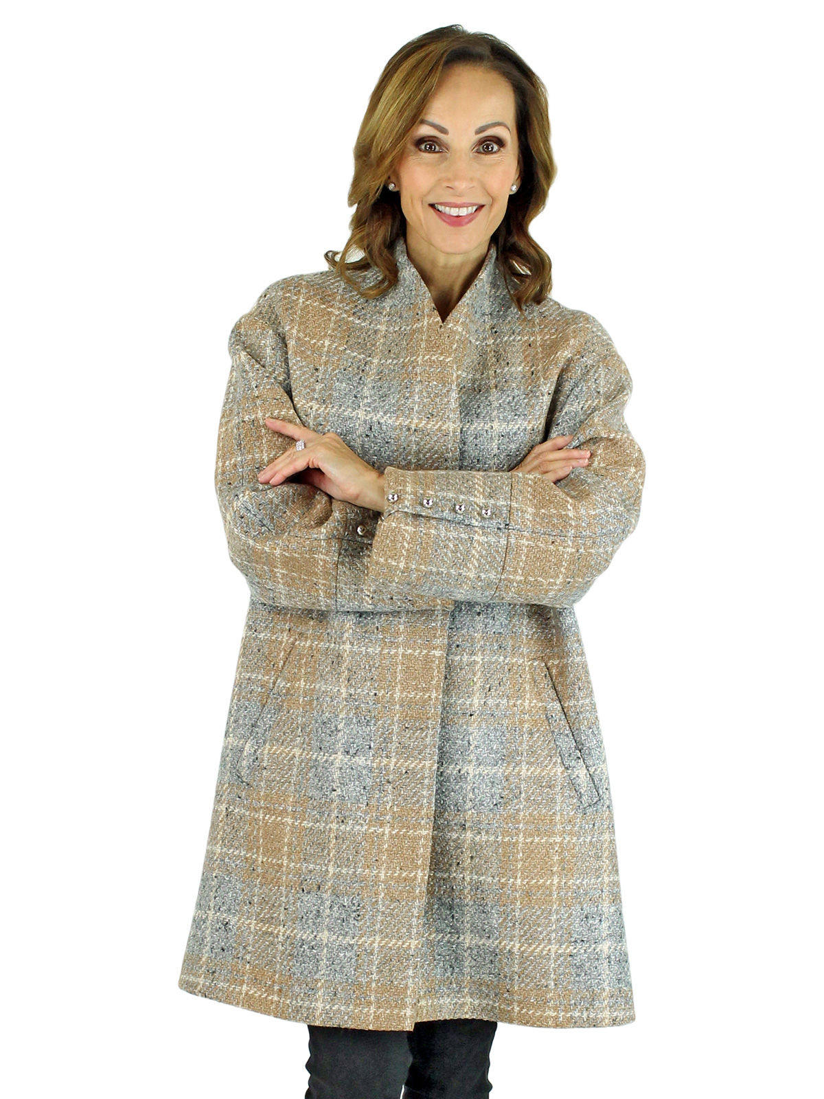 Woman's Beige and Grey Woven Wool 7/8 Coat