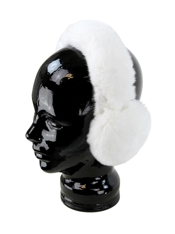 Woman's White Rex Rabbit Fur Earmuffs