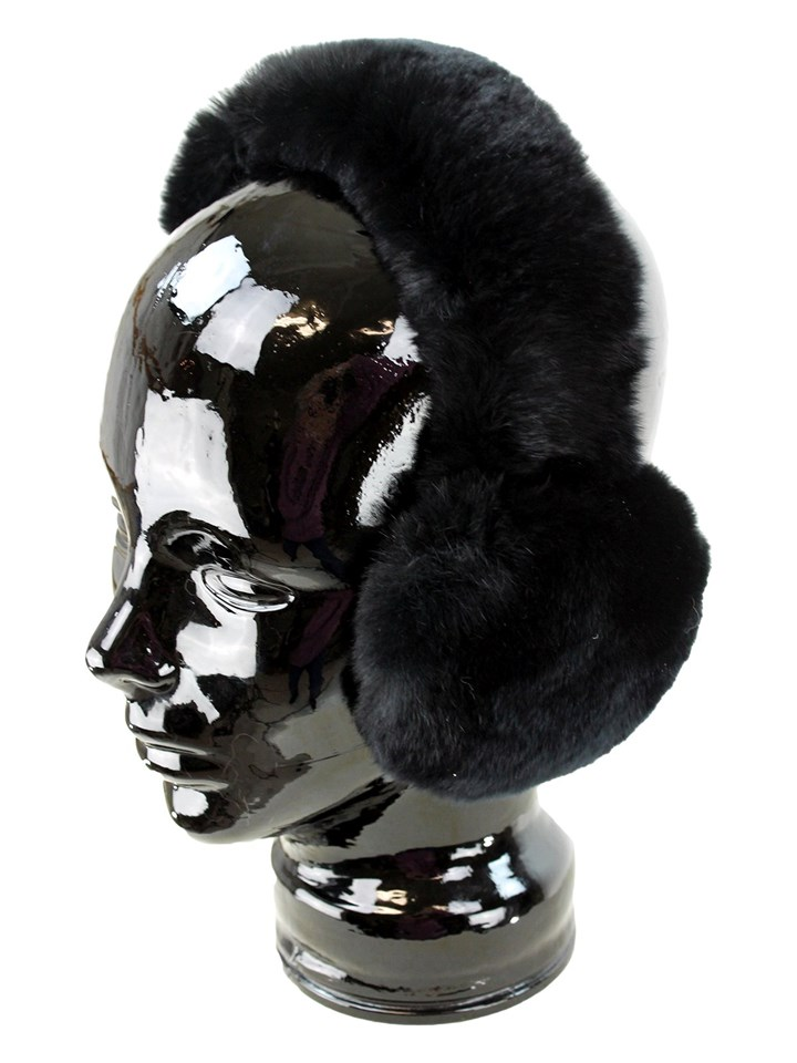 Woman's Black Rex Rabbit Fur Earmuffs