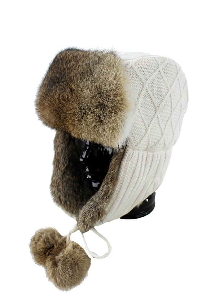 Woman's Cream Knit Trooper Hat with Heather Rex Rabbit Trim