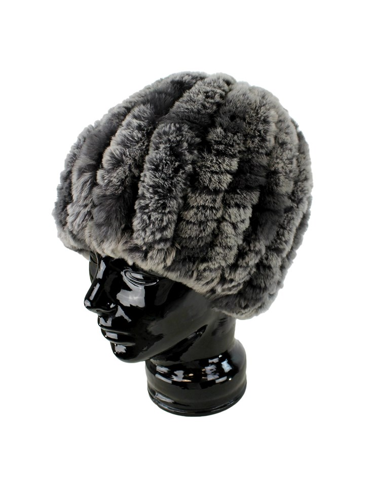 Woman's Evening Mist Knit Rex Rabbit Fur Hat